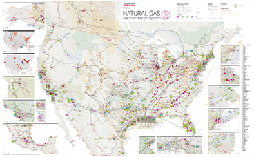 North American Natural Gas System Map Americas Maps And - Map Of Current Pipelines In The Us